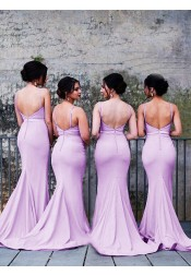 Mermaid Spaghetti Straps Sweep Train Lavender Elastic Satin Bridesmaid Dress
