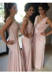 Sheath V-Neck Floor-Length Pink Spandex Bridesmaid Dress