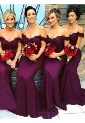 Mermaid Off-the-Shoulder Grape Elastic Satin Bridesmaid Dress with Lace