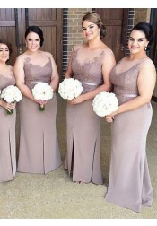 Sheath Illusion Bateau Light Gray Bridesmaid Dress with Appliques