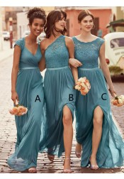 A-Line Scoop Floor-Length Ice Blue Chiffon Bridesmaid Dress with Lace