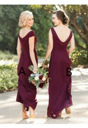 Sheath Off-the-Shoulder Floor-Length Grape Chiffon Bridesmaid Dress