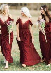 A-Line Cold Shoulder Dark Red Chiffon Bridesmaid Dress with Ruffles