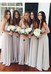 A-Line Scoop Floor-Length Light Gray Chiffon Bridesmaid Dress