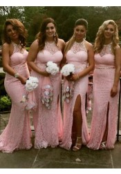 Sheath Round Neck Sweep Train Pink Lace Split Sequins Bridesmaid Dress