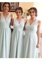A-Line V-Neck Floor-Length Light Blue Chiffon Pleated Bridesmaid Dress