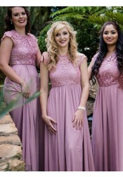A-Line Round Neck Cap Sleeves Lilac Chiffon Bridesmaid Dress with Lace