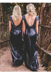 Sheath Bateau Cap Sleeves Backless Navy Blue Sequined Bridesmaid Dress