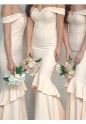 Mermaid Off-the-Shoulder Sweep Train Beige Bridesmaid Dress with Ruffles