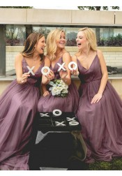A-Line Spaghetti Straps Floor-Length Light Purple Bridesmaid Dress