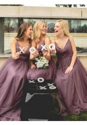 A-Line Spaghetti Straps Floor-Length Light Purple Bridesmaid Dress