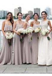 Mermaid Spaghetti Straps Grey Chiffon Bridesmaid Dress with Ruffles