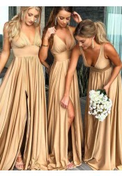 A-Line V-Neck Satin Floor Length Prom Evening Bridesmaid Dress with Split