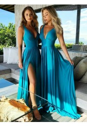 A-Line V-Neck Turquoise Satin Bridesmaid Dress with Split