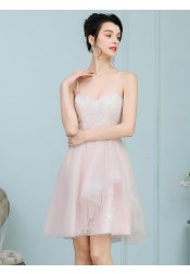 A-Line Spaghetti Straps Pearl Pink Tulle Prom Dress with Lace