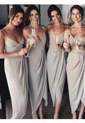 Sheath Spaghetti Straps Sleeveless Grey Satin Bridesmaid Dress
