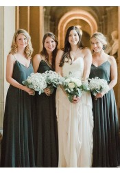 A-Line Spaghetti Straps Pleated Dark Green Chiffon Bridesmaid Dress