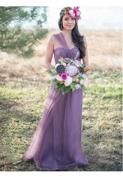 A-Line One-Shoulder Pleated Lilac Tulle Bridesmaid Dress
