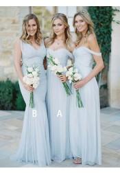 A-Line Off-the-Shoulder Light Blue Chiffon Bridesmaid Dress