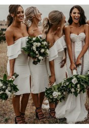 Sheath Off-the-Shoulder White Satin Bridesmaid Dress with Split Ruffles
