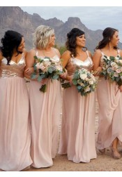 A-Line Spaghetti Straps Pink Chiffon Bridesmaid Dress with Sequins