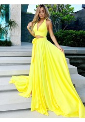 Two Piece V-Neck Yellow Satin Prom Party Dress with Split