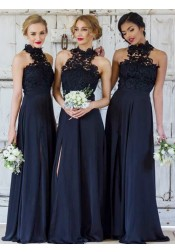 A-Line High Neck Navy Blue Chiffon Bridesmaid Dress with Lace Split