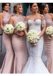 Mermaid Halter Long Pink Satin Bridesmaid Dress with Lace