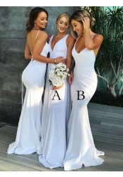 Simple A-Line V-Neck Long White Chiffon Bridesmaid Dress