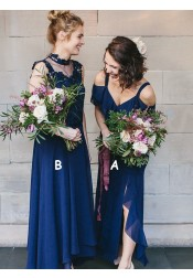 A-Line Cold Shoulder Navy Blue Chiffon Bridesmaid Dress with Ruffles