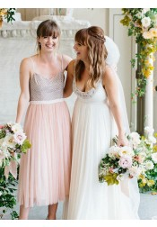 A-Line Spaghetti Straps Tea Length Pink Tulle Bridesmaid Dress