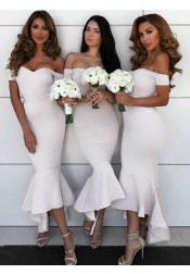 Mermaid Off-the-Shoulder White Satin Bridesmaid Dress with Ruffles