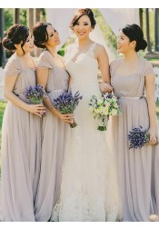 A-Line Square Neck Cap Sleeves Grey Chiffon Bridesmaid Dress