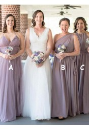 A-Line Halter Floor Length Lavender Tulle Bridesmaid Dress
