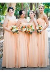 A-Line Sweetheart Ruched Long Orange Chiffon Bridesmaid Dress