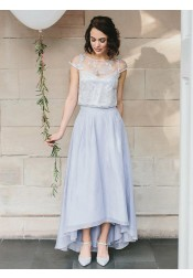Two Piece Round Neck Light Blue Chiffon Bridesmaid Dress with Lace