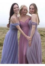 A-Line Off-the-Shoulder Cold Shoulder Sage Chiffon Bridesmaid Dress