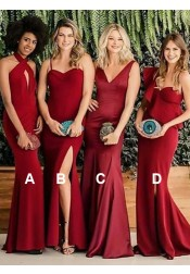 Sheath Halter Long Red Satin Bridesmaid Dress with Keyhole