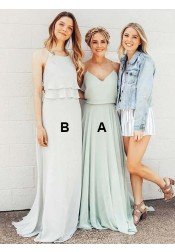 A-Line Spaghetti Straps Mint Long Chiffon Bridesmaid Dress