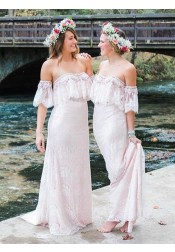 Sheath Off-the-Shoulder Pearl Pink Lace Bridesmaid Dress with Ruffles