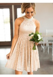 Round Neck Short Pearl Pink Lace Bridesmaid Homecoming Party Dress with Pearls