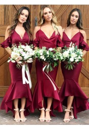 Mermaid Spaghetti Straps Wine Dark Red Bridesmaid Dress with Ruffles