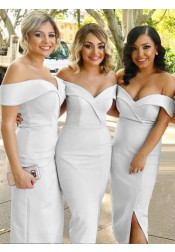 Sheath Off-the-Shoulder White Satin Bridesmaid Dress with Split