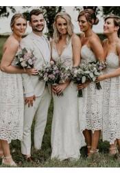 A-Line Spaghetti Straps Tea Length White Lace Bridesmaid Dress