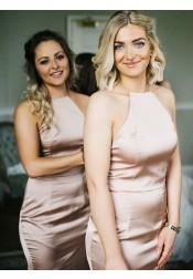 Sheath Jewel Sweep Train Sleeveless Blush Satin Bridesmaid Dress