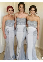 Mermaid Strapless Sweep Train Grey Bridesmaid Dress with Lace Beading