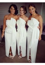 Sheath Strapless White Satin Bridesmaid Dress with Ruffles Split