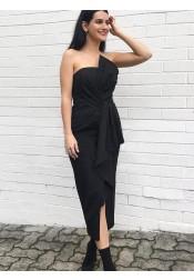Sheath Strapless Black Satin Bridesmaid Dress with Ruffles Split