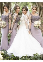 Sheath Round Neck Lavender Satin Bridesmaid Dress with Appliques Sleeves
