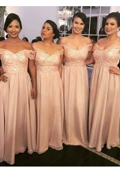 A-Line Off-the-Shoulder Pink Chiffon Bridesmaid Dress with Appliques